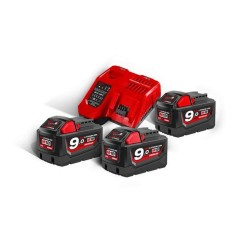 Set 3 acumulatori REDLITHIUM-ION™ M18B9 18V, 9.0Ah si incarcator Milwaukee M18NRG-903
