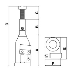 Cric hidraulic cu butelie Chicago Pneumatic 20 tone CP81200